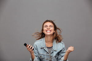 woman excited smiling
